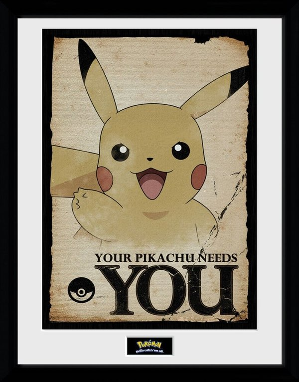 Bild Gerahmt / Print    Pokemon - Your Pikachu Needs You